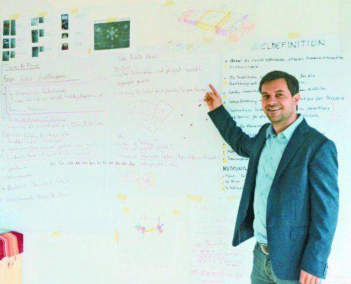 Die Ideenwand von Harald Entner und seinem Team ist prall gefüllt.  Foto: VN/toh