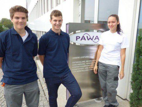 Die neuen Lehrlinge bei der Pawag Verpackungen GmbH: Simon Neyer, Simon Neßler, Yasemine Turan.