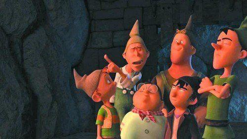 Die sieben Zwerge auf der Suche nach dem Geliebten, der die Prinzessin aus ihrem Schlaf wachküsst.
