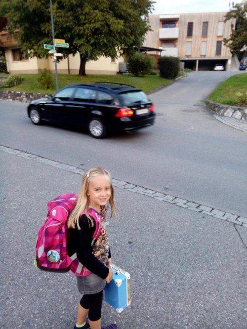 Die Tochter von Bürgerforums-Nutzerin dany2 auf ihrem täglichen Schulweg. Nach Ansicht ihrer Mutter bedarf es hier eines Schutzwegs.