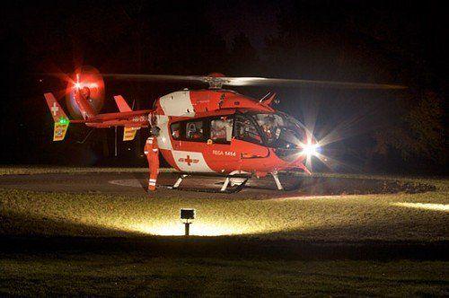 Für die Rettung der Kletterer wurde der REGA-Hubschrauber aus der Schweiz angefordert. Foto: REGA