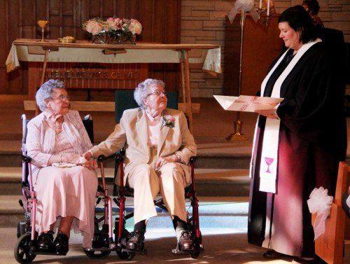 Hochzeit nach sieben Jahrzehnten Beziehung: Boyack und Dubes.  AP