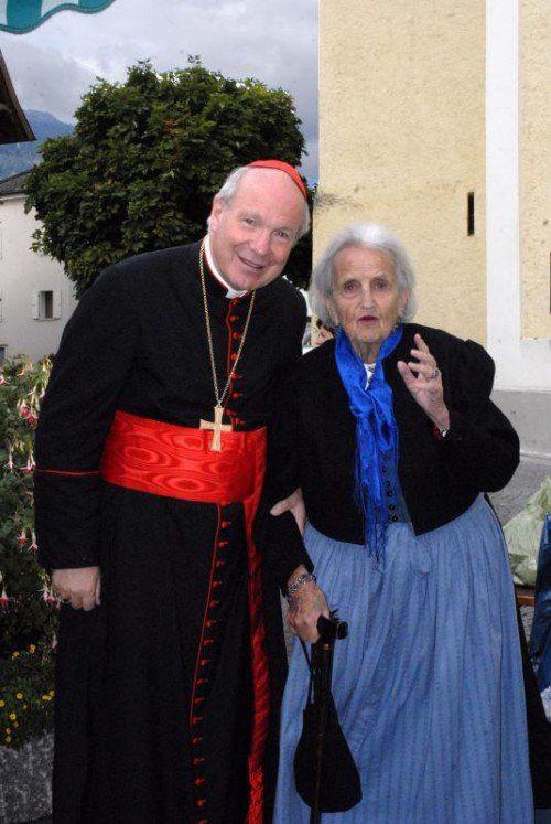 Trotz vieler Verpflichtungen findet Kardinal Christoph Schönborn immer wieder einmal Zeit, seine betagte Mutter im Montafon zu besuchen.Paulitsch, scopoli, zündel
