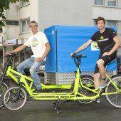 Marc Bösch und Ralph Hollenstein bieten als Erste in Vorarlberg Lastenräder an. Foto: VN/paulitsch