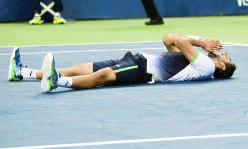 """Marin Cilic war nach seinem Finalsieg gegen Kei Nishikori bei den US Open überwältigt: """"Mein Erfolg ist das Ergebnis harter Arbeit."""" Foto: ???"""