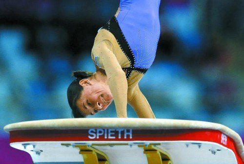 Olympia-Teilnahme mit 41 Jahren: Oksana Chusovitina. Foto: ap