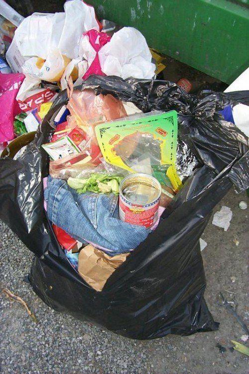Müllsünder, Bludenz, Bertsch-Parkplatz, Unrat, Abfall, Sammelstation, Müllsack