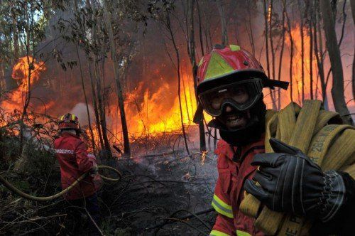 Waldbrände, wie etwa dieser im nordportugiesischen Carregal do Sal, werden sich laut Studie bis zum Jahr 2090 verdreifachen. Foto: EPA