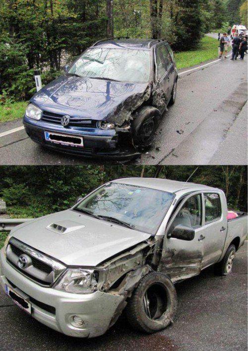 """Wer """"legte"""" die Ölspur? Beim Zusammenstoß wurden zwei Pkw schwer beschädigt.  Foto: Polizei"""
