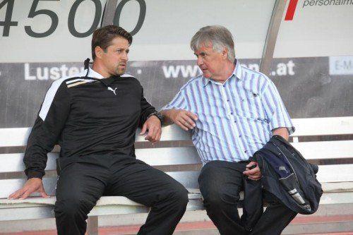 Austria-Präsident Hubert Nagel (r.) traf sich nach der Trainerrochade ein erstes Mal mit seinem Ex-Coach Helgi Kolvidsson. Foto: Hartinger