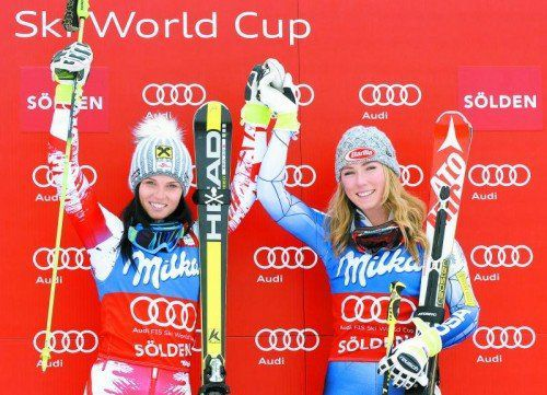 Beim Saisonauftakt in Sölden gleich schnell unterwegs: Anna Fenninger und Mikaela Shiffrin. Foto: apA