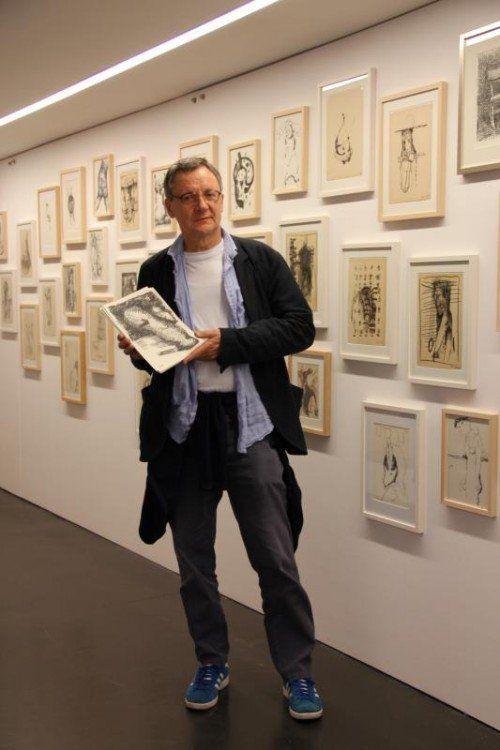 Die offene, impulsive Zeichnung stellt den wichtigsten Teil des Werks von Peter Hauenschild dar.  Foto: Ariane Grabher