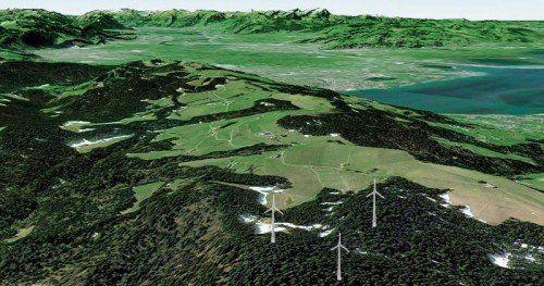 Ein Blick über den Hochberg, das Rheintal und den Bodensee. Fixiert ist erst der Standort des linken Windrades in der Fotomontage. Fotomontage: VN