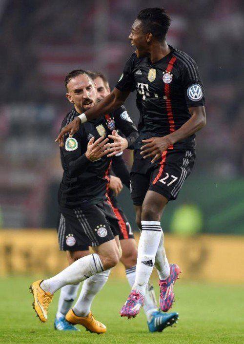 Freudensprung von David Alaba nach seinem Tor zum 2:0. Foto: gepa