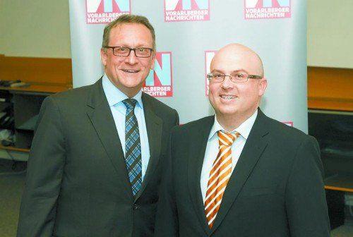 Gastgeber mit Referent: Michael Märk (r.) und Diplom-Ökonom und Diplom-Psychologe Gunther Wolf. Fotos: VN/Paulitsch