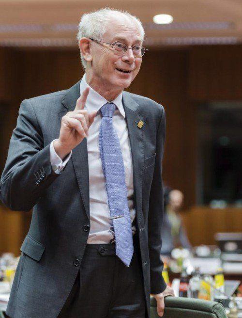 """Gipfelchef Herman Van Rompuy: """"Es war nicht einfach.""""  FOTO: AP"""