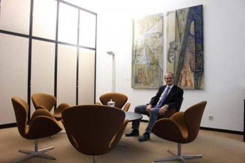 Harald Sonderegger in seinem neuen Reich. Es gefällt ihm, viel wird er nicht verändern. Fotos: VN/Prock