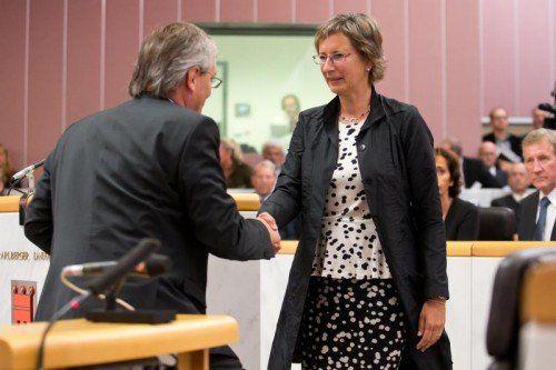 Ironie des Protokolls: Die Angelobung der zweiten Vizepräsidentin Nussbaumer nahm Präsident Sonderegger vor.