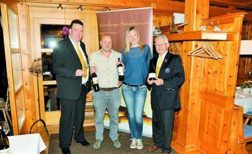 Organisator Luggi Zortea, Andreas Essl (Weinakademiker), Tamara Kögl und VSOV-Präsident Willi Hirsch.  Foto: Privat
