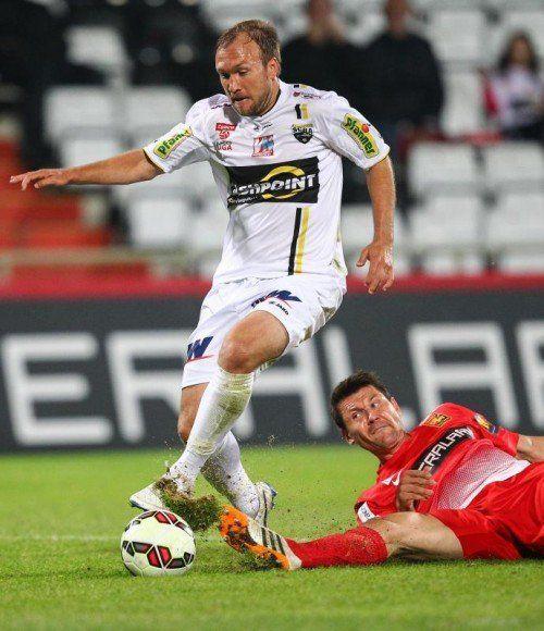 Patrick Seeger auf dem Weg zu seinem ersten Bundesligator. Der 28-Jährige erzielte das 2:0 für Altach. gepa