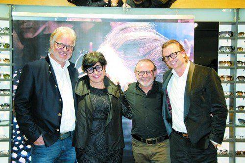 Peter und Susanne Scharax, Helmut Samp (Scharax Messepark) und Christoph Thomann (Tom Ford).  Fotos: Scharax