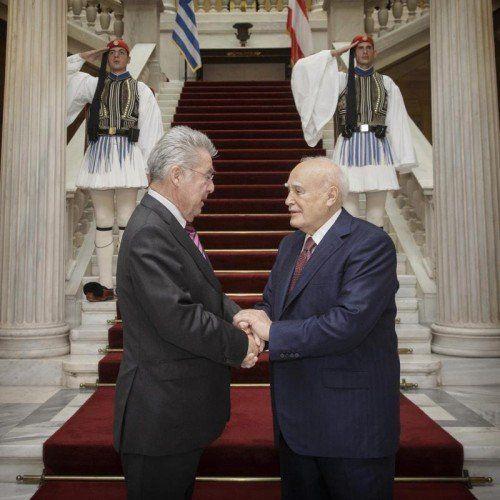 Präsidententreffen: Heinz Fischer und Karolos Popoulias.  EPA