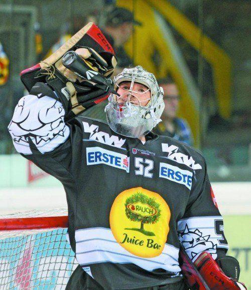 Premiere auf Dornbirner Eis: Nathan Lawson hütet gegen Innsbruck das Tor der Bulldogs. Foto: gepa