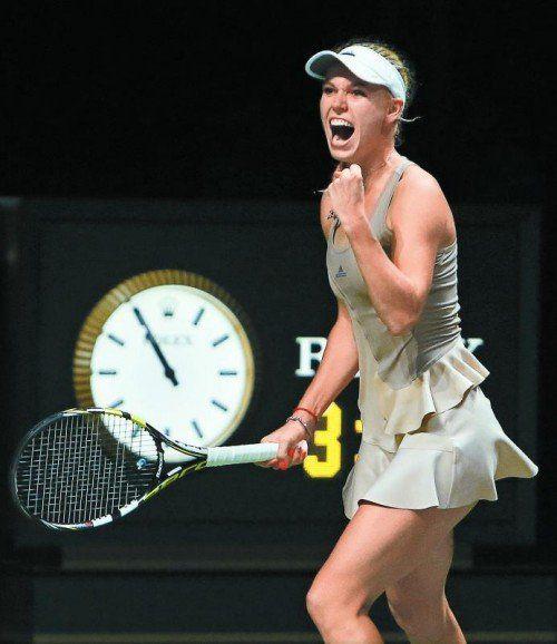 Sieg gegen Scharapowa, Jubel bei Caroline Wozniacki. Foto: ap