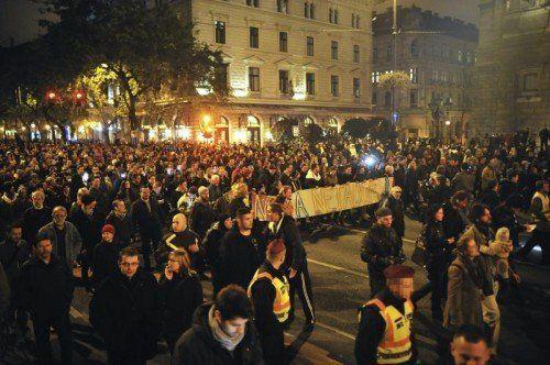 Tausende Ungarn protestierten gegen die von der rechtskonservativen Regierung geplante Internetsteuer. FOTO: AP