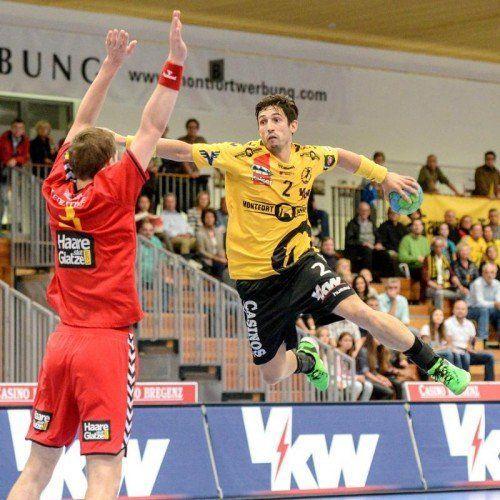 WM-Kandidat Lucas Mayer (Bregenz) belegte mit 103 Treffern im Grunddurchgang Rang fünf in der Torschützenliste. Foto:VN/Lerch