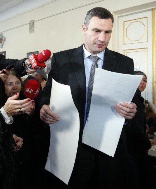 Vitali Klitschko, Listenführer des Petro-Poroschenko-Blocks, würde auch bei einem Wahlsieg Bürgermeister von Kiew bleiben. FOTO: EPA