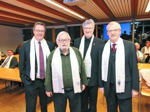 Brudermeister Hermann Metzler, Vorsitzender Dekan Toni Oberhauser, Generalvikar Rudolf Bischof und Brudermeister-Stv. Wolfgang Türtscher.