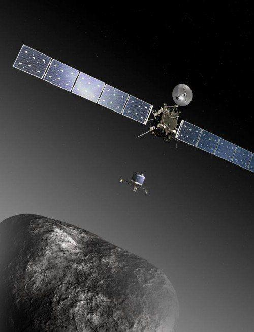 Das Landegerät setzte auf dem Himmelskörper auf (im Bild rechts ein Originalfoto von Mittwochabend). dpa/Computerillustration, Epa/Esa