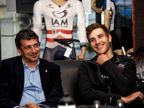 Der neue Direktor der Österreich-Tour, Wolfgang Weiss, (l.) und Stundenweltrekordler Matthias Brändle. gepa