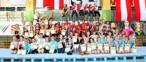 Die Vorarlberger Mädchen und Burschen bei den ÖFT-Titelkämpfen in den Klassen AK 8 bis AK 11. Foto: Privat/ Lilly Melchhammer