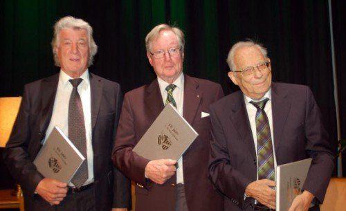 Die Zeitzeugen Walter Hollenstein, Gerhard Bayer und Elmar Keckeis (von links).
