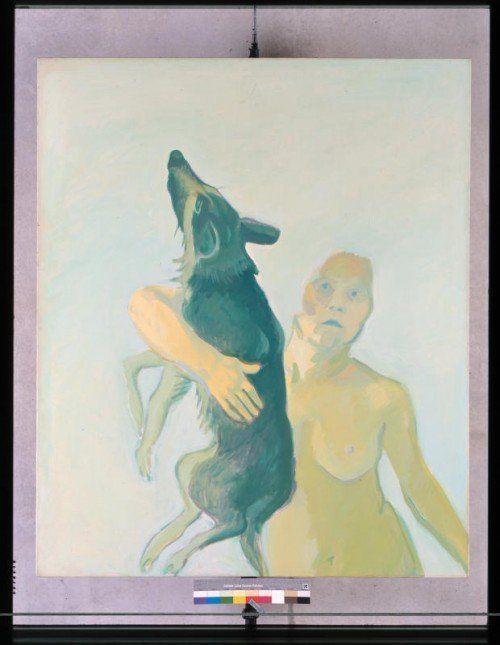 """""""Einen Hund besitzen"""" von Maria Lassnig, 1975.  Foto: KUB"""
