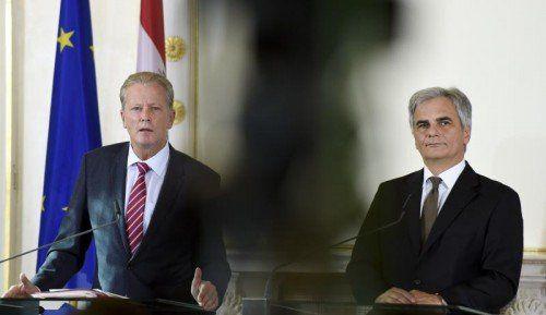 Erneut dicke Luft zwischen den Koalitionspartnern. Kanzler Werner Faymann (r.) und sein Vize Reinhold Mitterlehner streiten über die Finanzierung des Pensionssystems.  FOTO: APA