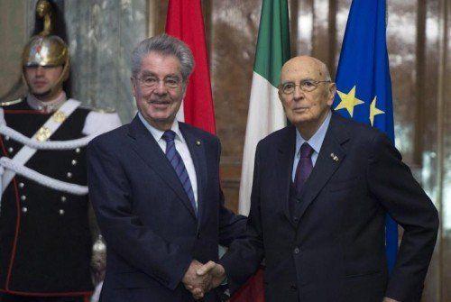 Heinz Fischer trifft Italiens Präsident Giorgio Napolitano.  EPA