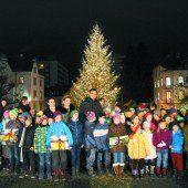 Lichter am Christbaum vor dem Landhaus