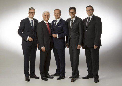 Neue und alte BTV-Führung: Michael Perger, Matthias Moncher, Peter Gaugg, Gerhard Burtscher, Mario Papst (v. l.). Foto: Hofer