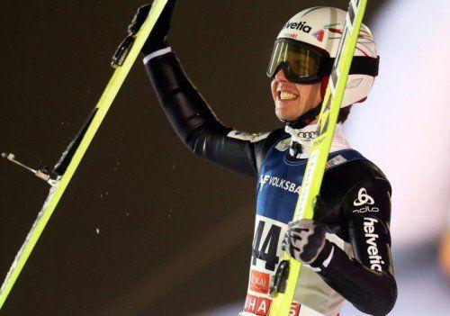 Neuer Weltcupführender: Simon Ammann. Foto: epa