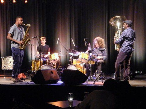 Sons of Kemet mit Shabaka Hutchings, Tom Skinner, Seb Rochford undTheon Cross am Dornbirner Spielboden. Foto:VN/CD