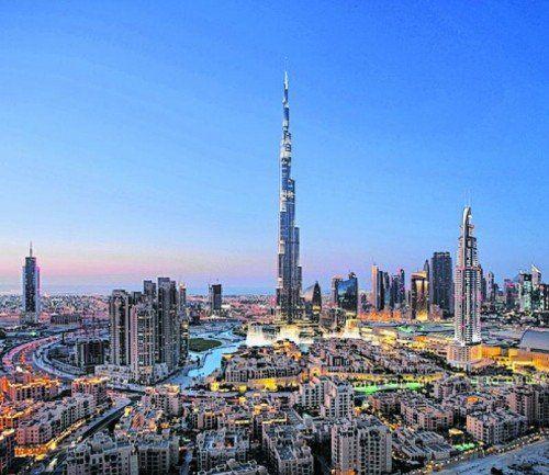 Spektakulärer Blick auf den Burj Khalifa in Dubai.