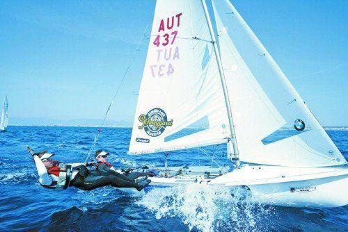 Steuermann David Bargehr und Vorschoter Lukas Mähr wollen beim Weltcupfinale in Abu Dhabi aufzeigen. Foto: Marsano