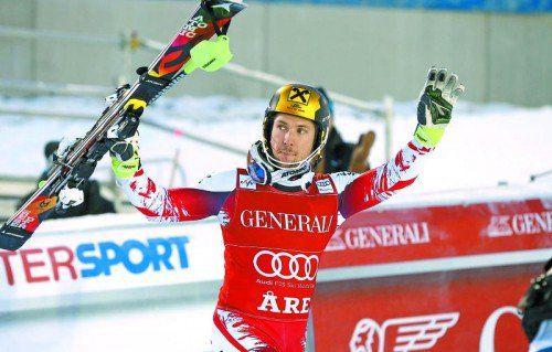 Aare war das Territorium von Marcel Hirscher. Der Salzburger gewann in Schweden Riesentorlauf und Slalom. Foto: ap
