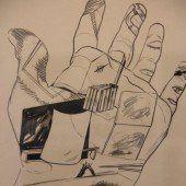 Muskelprotze mit dem Zeichenstift