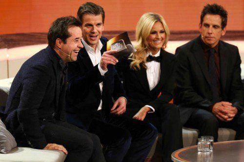 """Bis auf Ben Stiller (rechts im Bild) fehlten bei der letzten """"Wetten,  dass ..?""""-Show internationale Hollywoodgrößen. Foto: EPA"""