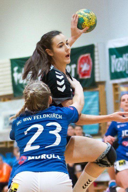 Die 17-jährige Fabienne Tomasini hatte mit sechs Treffern großen Anteil am Derbysieg des SSV Dornbirn-Schoren. Foto: steurer