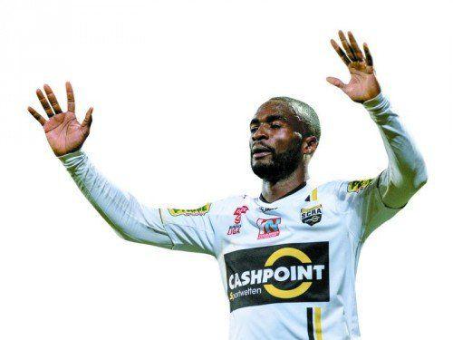 Erzielte seine Treffer 22 und 23 im Dress des Cashpoint SCR Altach. So war sein 80. Spiel für Louis-Clement Ngwat-Mahop ein tolles Jubiläum.